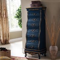 美式乡村实木七斗柜欧式抽屉彩绘 雕花边柜储物柜收纳整理柜 宝蓝色 如图蓝色 整装