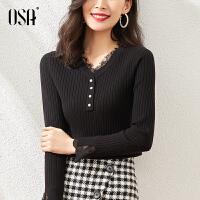 【2件3折到手价:150】OSA黑色打底衫女洋气春秋内搭套头V领毛衣2021年新款春季针织上衣
