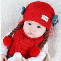 帽子围巾两件套 女宝宝套头帽 围巾 婴儿帽子6-12个月1-2岁女童公主宝宝帽围巾两件套儿童假发帽