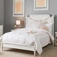 实木床美式家具1.5m1.8m单双人大床轻奢四柱高架子帷幔床主卧婚床 白色 樱桃木
