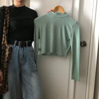 早秋韩版女装修身显瘦半高领领打底衫T恤弹力百搭短款长袖T恤上衣 均码