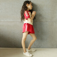 女童运动套装夏季2018新款韩版童装中大童纯棉短袖短裤休闲两件套