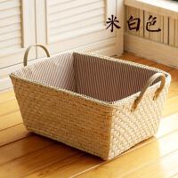 简约桌面杂物收纳盒田园藤草编收纳筐 零食玩具储物篮子 整理盒
