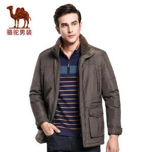 骆驼男装加厚棉服   冬季纯色美式休闲外套中长款棉衣男