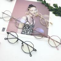 原宿超轻复古眼镜框女韩版潮素颜软妹不规则个性圆脸平光镜