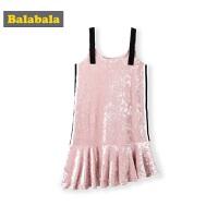 巴拉巴拉童装女童连衣裙2019新款秋装儿童公主裙丝绒吊带裙子洋气