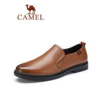 骆驼2019春夏新款男士商务休闲皮鞋牛皮套脚办公皮鞋通勤上班族