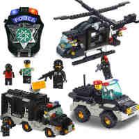 小鲁班小颗粒益智拼插积木军事拼装玩具飞机 积木塑料 男孩玩具