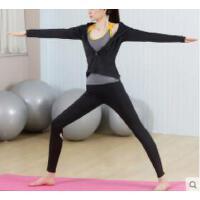 时尚瑜伽背心带胸垫健身服性感健身房紧身裤子运动套装女三件套外套