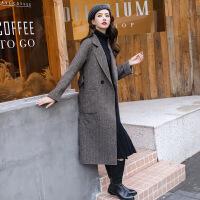 毛呢外套 女士翻领人字纹中长款毛呢外套2020年冬季新款韩版时尚潮流女式修身洋气女装毛呢大衣
