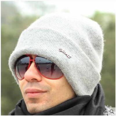 男士帽子潮羊毛针织帽冬季保暖护耳套头帽