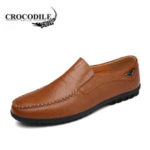 鳄鱼恤豆豆鞋舒适男士套脚鞋懒人一脚蹬休闲皮鞋驾车鞋舒适男鞋