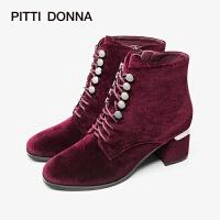 PITTI DONNA欧美粗跟绑带侧拉链短筒女靴马丁靴8T56801