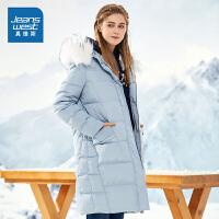 真维斯女2018冬装新款女士中长款宽松连帽外套韩版口袋羽绒服
