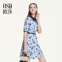 【2件6折】OSA欧莎2016夏季新品趣味俏皮印花独特拼色短袖连衣裙女B13158