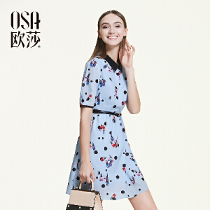 欧莎2016夏季新品趣味俏皮印花独特拼色短袖连衣裙女B13158