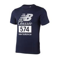 (8.23-25日 满100减30 满279减100)New Balance/NB 男装 2018新款运动休闲圆领短袖T恤 AMT81543PGM