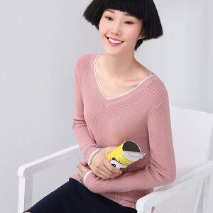 熙世界秋季纯色V领长袖修身百搭毛针织衫毛衣女193LA252