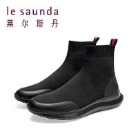 莱尔斯丹2019新款袜子鞋套筒高帮靴休闲透气弹力男短靴9MM84902