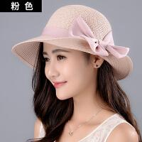 太阳帽女夏天遮阳帽蝴蝶结草帽户外可折叠太阳帽大沿沙滩海边出游