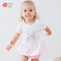 贝贝怡女童短袖套装春夏新款宝宝纯棉透气2件套192T318