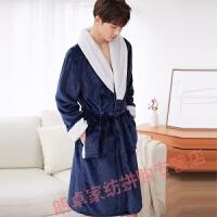 起夜睡袍男士睡袍睡衣法兰绒冬季情侣结婚男长款浴袍珊瑚绒