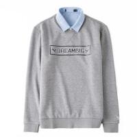 冬季加绒加厚保暖衬衫男士长袖假两件套头针织衫毛衣韩版休闲衬衣 HH-031加绒假两件