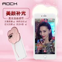 ROCK苹果7plus手机壳iphone7硅胶套软6s潮牌自拍美颜补光灯女款