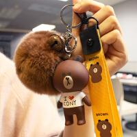 20180820524270018新款布朗熊女韩版创意可爱毛绒蒙萌奇奇钥匙链情侣书包挂件挂饰