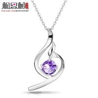 相思树 纯银项链 女 韩版时尚 完美曲线紫水晶吊坠925纯银 节日礼物