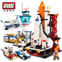 古迪积木拼装飞机火箭军事模型航空航天儿童益智拼插玩具