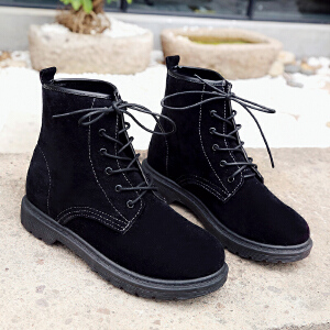 增高雪地靴靴2017秋冬季新款英伦风马丁靴学生韩版百搭冬鞋青年女靴