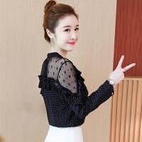 2018秋装新款波点雪纺衫女长袖韩版飘逸蕾丝上衣超仙加绒打底衬衫
