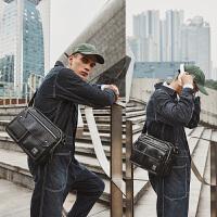 单肩包男休闲男士包包韩版学生斜挎包横款潮 黑色(收藏加购先发货)