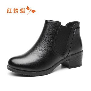 红蜻蜓女鞋2017秋冬新品简约时尚圆头舒适粗跟百搭纯色短靴裸靴