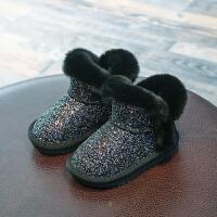 童鞋2018冬季新款儿童雪地靴女童加绒公主短靴小女孩防滑宝宝鞋