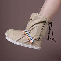 中筒时尚防雨鞋套防水防滑加厚底加高男女款骑车步行旅游便携耐用