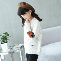 女童白色毛衣大童12岁15加绒加厚打底衫2018韩版新款秋季上衣潮