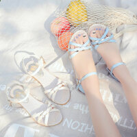韩版百搭坡跟女鞋 新款女士凉鞋学生一字扣凉鞋搭配裙子的凉鞋鱼嘴鞋