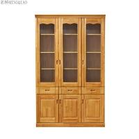 实木书柜橡木书柜书架 简约现代 玻璃门带抽屉组合时尚实木书架 1-1.2米宽