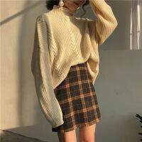 韩版秋季新款学院风减龄气质优雅撞色格子修身百搭包臀半身短裙女