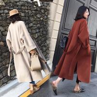赫本风毛呢大衣女中长款2018冬季新款韩版廓形过膝流行厚呢子外套