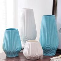 简约现代新美式白色蓝色陶瓷花瓶三件套家具装饰摆件软装设计套装