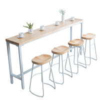 铁艺实木吧台桌家用现代简约靠墙窄桌子高脚桌奶茶店酒吧桌椅 组装