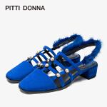 【顺丰包邮,到手价:198】PITTI DONNA春夏水钻毛毛包头粗跟中跟凉鞋女鞋 9M40904