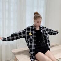 皮卡丘联名款 毛菇小象格子衬衫女设计感小众2019新复古休闲衬衣