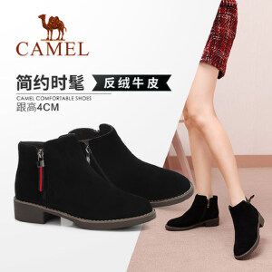 Camel/骆驼2018冬季新款休闲英伦韩版低跟百搭复古马丁靴女短靴