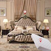 欧式床 双人床实木床公主婚床1.8米雕花储物床法式新古典家具 +2个床头柜+1个床垫 1800mm*2000mm