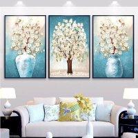 三联画十字绣新款线绣客厅十字绣小幅满绣卧室简约现财树