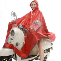 雨程摩托车电瓶车电动车雨衣时尚透明大帽檐加大加厚雨披红色